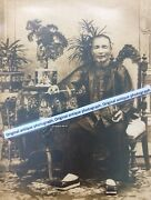 Large Antique Victorian Cabinet Photograph Of Chinese Man In Robes Smoking Opium