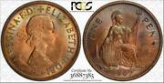 1967 Great Britain One Penny Pcgs Ms64rb Multi Color Toned Only 5 Graded Higher