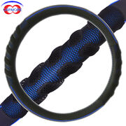 15 38mm Car Steering Wheel Cover Pu Leather Massage Odorless Black And Blue