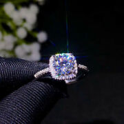 18k White Gold Plated 1ct 2ct 3ct Round Brilliant Cut Moissanite Engagement Ring