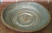 Vintage Middle Eastern Tinned Copper Bowl Hand Hammered Large Size 15 X 3