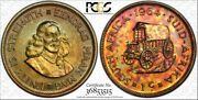 1964 South Africa 1 Cent Pcgs Pr65 Proof Color Toned Coin In High Grade