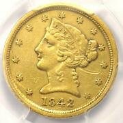 1842-c Liberty Gold Half Eagle 5 - Pcgs Xf Details - Rare Charlotte Gold Coin