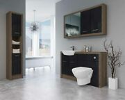 Bathroom Fitted Furniture 1400mm Truffle Brown Davos Oak / Black Gloss Dh7 With