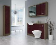 Bathroom Fitted Furniture 1400mm Truffle Brown Davos Oak / Burgundy Gloss Dh6 Wi