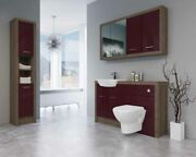 Bathroom Fitted Furniture 1400mm Truffle Brown Davos Oak / Burgundy Gloss Dh7 Wi