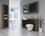 Bathroom Fitted Furniture 1400mm Truffle Brown Davos Oak / Coffee Gloss Dh7 With