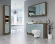 Bathroom Fitted Furniture 1400mm Truffle Brown Davos Oak / Duck Egg Blue Gloss D