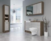 Bathroom Fitted Furniture 1400mm Truffle Brown Davos Oak / Light Grey Gloss Dh7