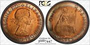 1967 Great Britain 1 One Penny Pcgs Ms64 Very Nice Rainbow Color Toned Coin