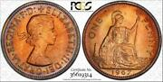 1967 Great Britain One Penny Pcgs Pr65rb Circle Toned Coin None Graded Higher