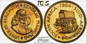 1964 South Africa 1 Cent Pcgs Pr65 Proof Coin Color Toned In High Grade
