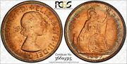 1967 Great Britain One Penny Pcgs Ms64 Rainbow Color Toned Coin Trueview