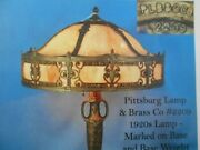 Antique Pittsburgh Lamp Art Nouveau Caramel Beautiful Chipped Ice Panel Shade