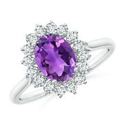 1.55ctw Oval Amethyst Ring With Floral Diamond Halo In 14k Gold/platinum