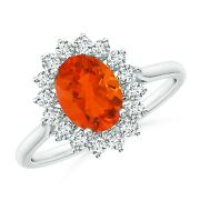 1.2ctw Oval Fire Opal Ring With Floral Diamond Halo In 14k Gold/platinum