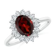 1.85ctw Oval Garnet Ring With Floral Diamond Halo In 14k Gold/platinum