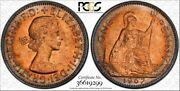 1967 Great Britain One Penny Bu Pcgs Ms64rd Rainbow Circle Toned In High Grade