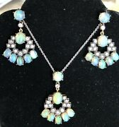Opal And Mixed Cut Diamond Pendant And Earrings In Silver And Gold Gilt