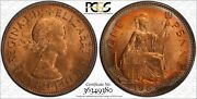 1967 Great Britain One Penny Pcgs Ms63 Rainbow Color Toned Coin