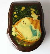 Vintage Russian Lacquer Box Fedoskino Федоскино White Cat In Basket Hand Painted
