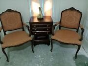 Vintage French Arm Chairs Louis Xv Style Italian Chateau D'ax Large Side Chairs