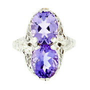 Antique Art Deco 14k White Gold Dual Purple Amethyst Etched Filigree Bypass Ring