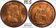 1967 Great Britain One Penny Pcgs Ms64rd Bu Circle Toned In High Grade