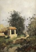 Figure By Well Eugene Galien Laloue 1854-1941 Original Signed Oil On Panel