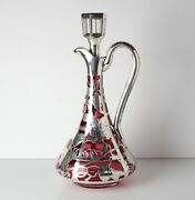 Alvin Mfg Co Sterling Silver Overlay Mounted Cranberry Red Glass Decanter
