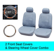 Gray Pu Leather 2 Front Car Seats Covers +steering Wheel Cover - 6b15302