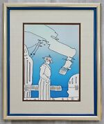 Mid Century Modern Framed Peter Max Pencil Signed Lithograph Cosmic Song Blue