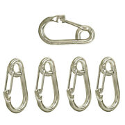 5 Pc 5/16 Gate Spring Snap Hook Lobster Claw Carabiner Ss Marine Boat 650 Lbs