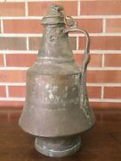 Antique Middle Eastern Tinned Copper Urn With Handle And Lid 16 Inches Tall