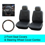Black Pu Leather 2 Front Car Seats Covers +steering Wheel Cover - 6c15301