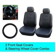Black Pu Leather 2 Front Car Seats Covers +steering Wheel Cover - 6b15901