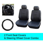 Black Pu Leather 2 Front Car Seats Covers +steering Wheel Cover - 6d15901