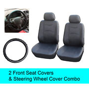 Black Pu Leather 2 Front Car Seats Covers +steering Wheel Cover - 6a15901
