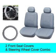 Gray Pu Leather 2 Front Car Seats Covers +steering Wheel Cover - 6c15902