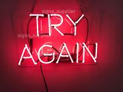 New Try Again Pink Neon Light Sign Real Glass Bedroom Acrylic Decor 14