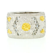 Vintage 18k Tt Gold .30ct Pave Diamond Hand Etched Brushed Wide Band Ring Sz 4.5