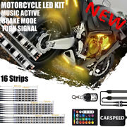 16pc Motorcycle Led Under Glow Light Kit 18-colors Neon Strip +2 Remote Control