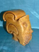 Stunning Signed Fred And Marilyn Buss Maple Burl Double Sculpture Puzzle Box