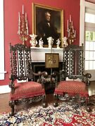 Pair Of Spanish Influence Jacobean Throne / Fireside Chairs