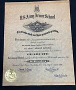 1957 Us Army Named Officers Armor School Diploma Certificate
