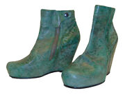Rick Owens Avant Garde Jade Green Textured Leather Scarpa Wedge Ankle Boots 38
