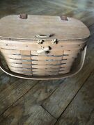 Longaberger Heartland Collection Small Purse Basket With Plastic Protector Guc
