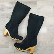 Ugg Australia Rumer Black Suede Leather Tall Heel Boots Women's Shoes Size 7
