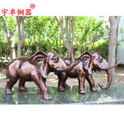26and039and039 China Copper Elephant One Pair Bronze Statue
