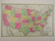 1880and039s Antique Map Of The United States From Tunisonand039s Atlasc.o.a Original